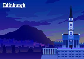 Solnedgång över Edinburgh Gratis Vector