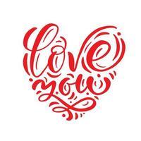 älskar dig röd kalligrafisk text i form av hjärta vektor