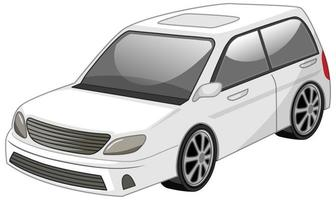 vit bil tecknad stil isolerad