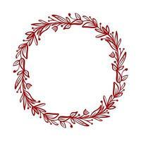 roter Weihnachtsblumenkranz und Beeren auf Zweigen