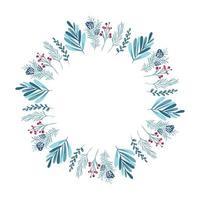 Weihnachtskranz mit Beeren, Tannenzapfen und Zweigen