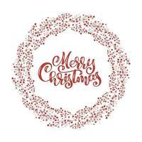 roter Weihnachtskranz mit Beeren mit fröhlichem Weihnachtstext
