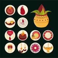 Bhai Dooj Feier Icon Set