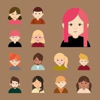 olika människor, runda avatar ikonuppsättning