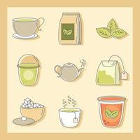 uppsättning olika sorters te vektor