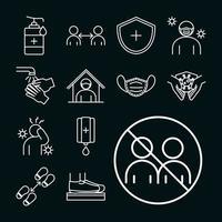 Piktogramm-Symbolsatz zur Verhinderung von Coronaviren