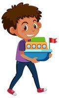 pojke håller båt leksak tecknad vektor