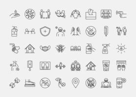 coronavirus förebyggande piktogram ikonuppsättning