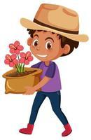 Junge, der Blume im Topfkarikaturcharakter hält vektor