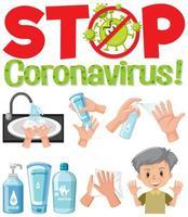 stoppa coronavirus-logotypen med sanitizer-produkter