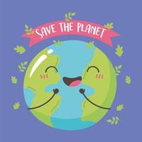 rette den Planeten, glücklich lächelnde niedliche Erdkarikatur
