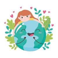 liten flicka som kramar jorden med löv och hjärtan vektor