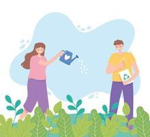 flicka med vattenkanna och pojke med återvinningsprodukter
