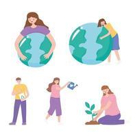 människor som tar hand om jorden, planterar och mer