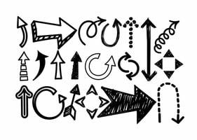 Gekritzel-Pfeil-Ikonen-vektor-Satz