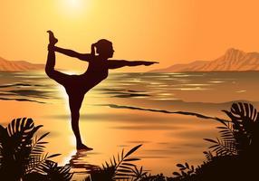 Yoga am Strand von Playa Vektor