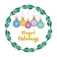 julhälsning med härlig krans och grannlåt
