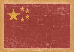 Kina flagga på Old grunge bakgrund