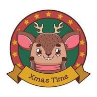 rolig julhälsning med tecknad ren