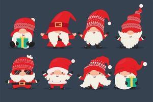 dvärgnisser i röd jul och santa kläder vektor