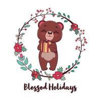 gesegnete Feiertagsgrüße mit niedlichem Bären und Kranz