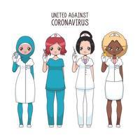 team av olika kvinnliga sjuksköterskor