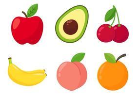 tecknad hälsosam fruktuppsättning vektor