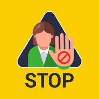 kvinna visar hand stoppskylt