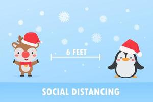 ren och pingvin social distansering för att förhindra koronavirus