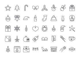 jul linje ikonuppsättning