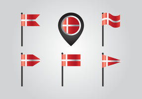 Danmark landflagga vektorer