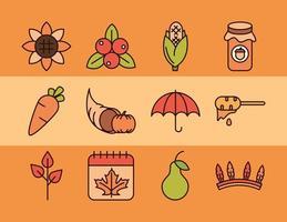 Thanksgiving Day firande Ikonuppsättning