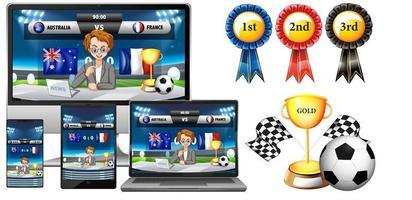 Reihe von Sportnachrichten auf elektronischen Geräten vektor