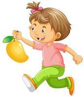 laufendes Mädchen, das Mango hält