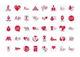 World Aids Day Awareness Icon Collection