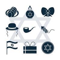 Hanukkah, judisk traditionell ceremoni siluett Ikonuppsättning