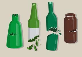 Farbige zerbrochene Flaschen Isolieren
