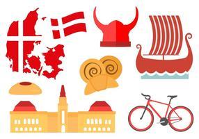 Fria Danmark ikoner och Landmark Vector
