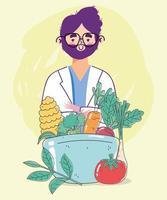 Ernährungsberater mit frischen, gesunden Lebensmitteln vektor
