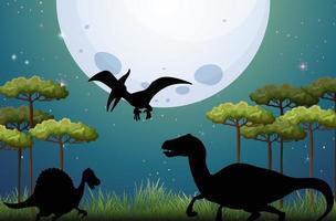 Dinosaurier im Naturhintergrund in der Nacht