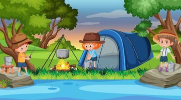 barn som campar vid floden vektor