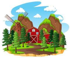 gård med ladugård och väderkvarn på vit bakgrund