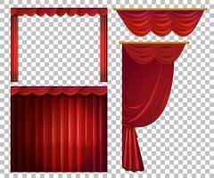 verschiedene Designs von roten Vorhängen vektor