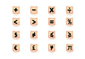 Målade Math Symbol Brush Vector