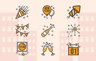 enkelt fira nyår ikon pack
