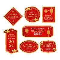 klassischer fröhlicher chinesischer Neujahrsaufkleberaufkleber vektor