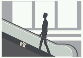 Silhuett av en ung man på rulltrappan Vector