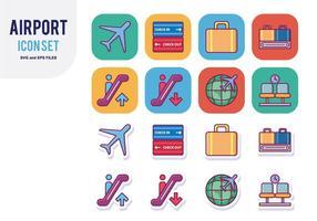 Flygplats Icon Set