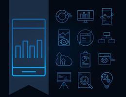 dataanalys, affärs- och marknadsföringsstrategi ikonuppsättning