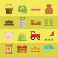 jordbruk och jordbruk platt ikonuppsättning